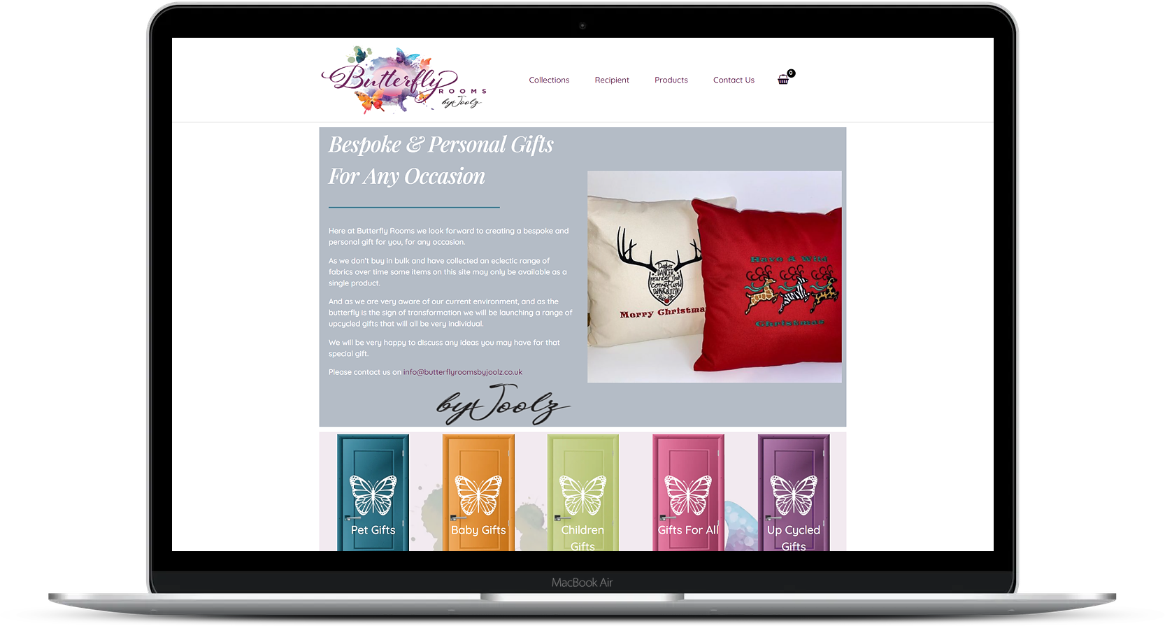 eCommerce Website Design for Butterfly Rooms By Joolz
