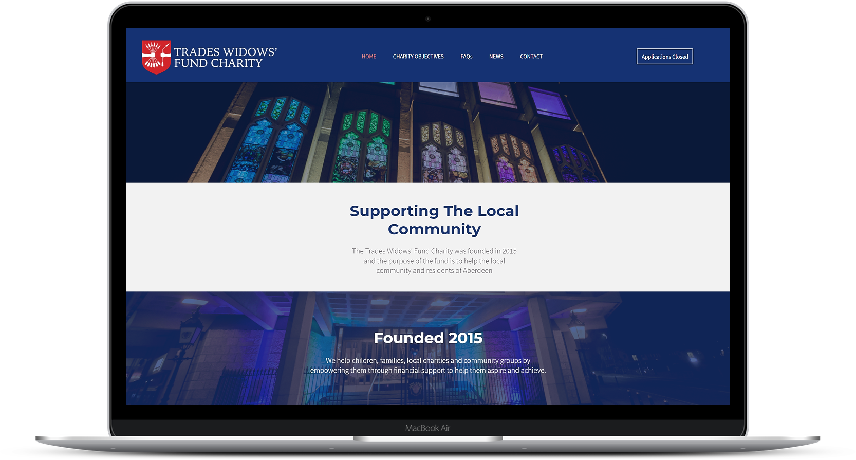 Website Design for Trades Widows' Fund Charity
